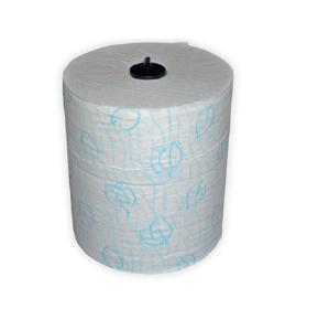 Handdoekrol bladmotief wit 150m