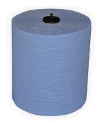 Handdoekrol bladmotief blauw 150m